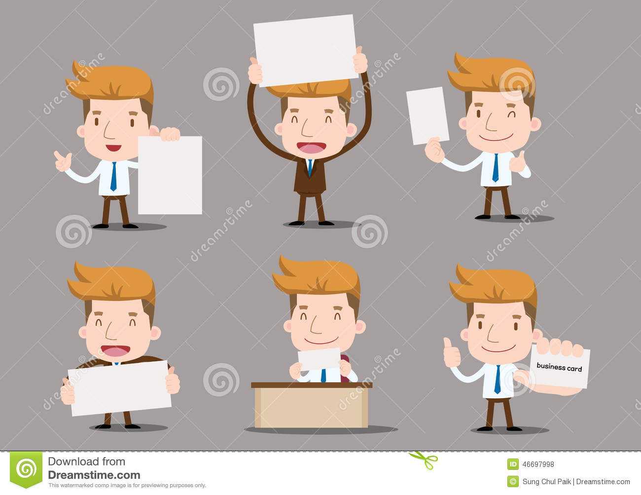 Cartoon Business Characters - Blank Paper Stock Vector ...