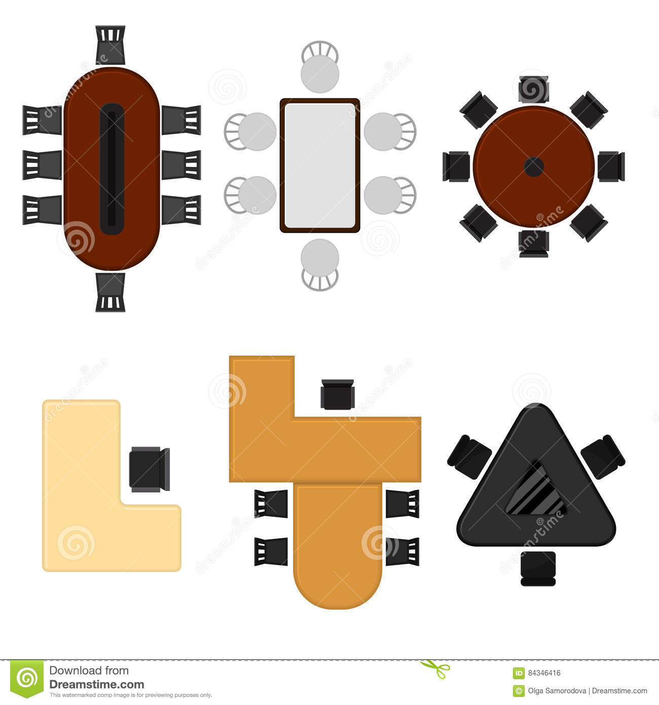 Cartoon Business Office Table Set Top View Vector Stock