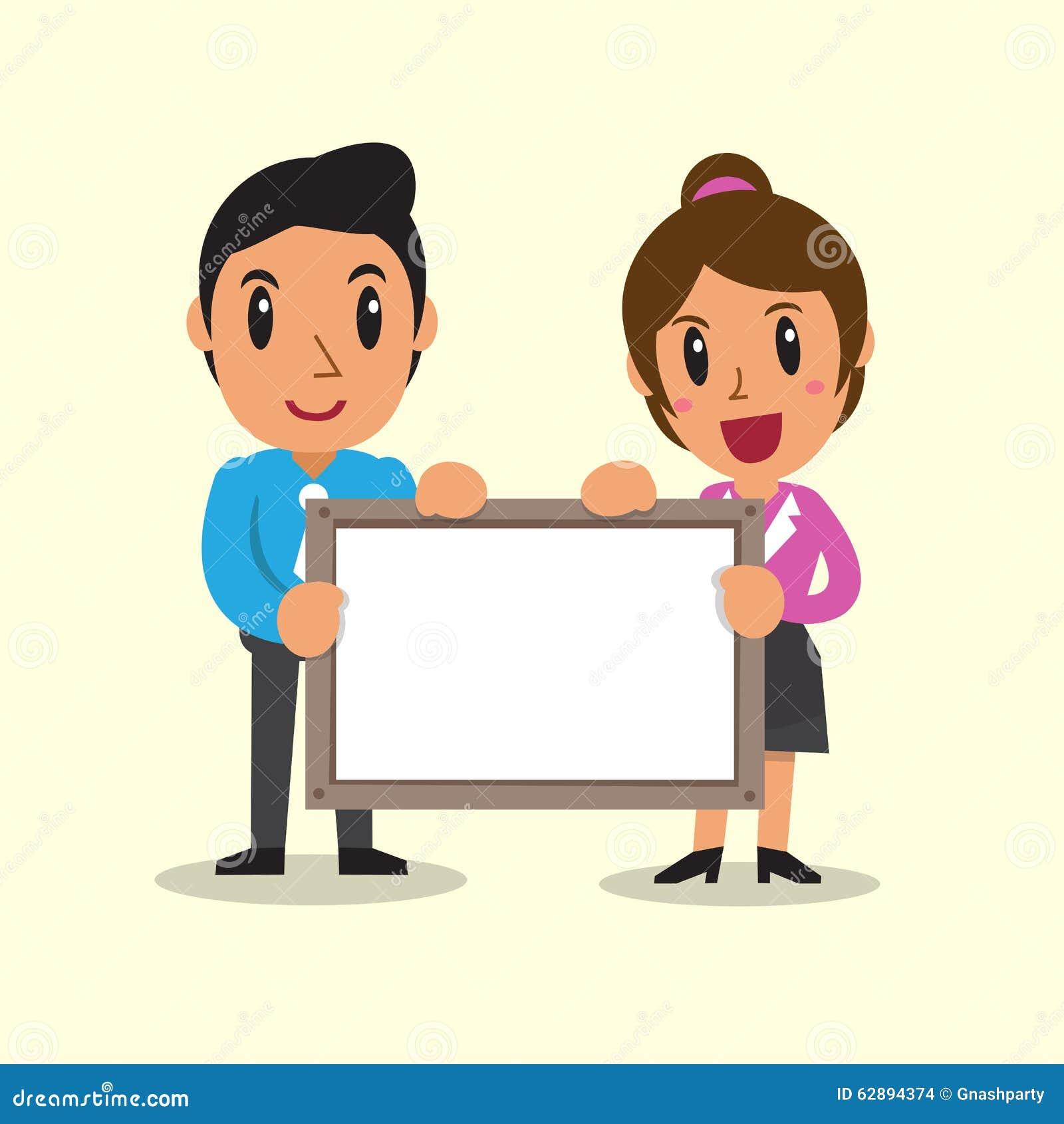 cartoon business people holding board for presentation stock vector rh dreamstime com