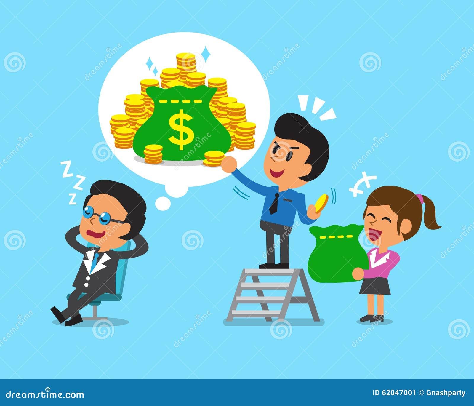 Cartoon Business Team Steal Money From Boss Stock Vector
