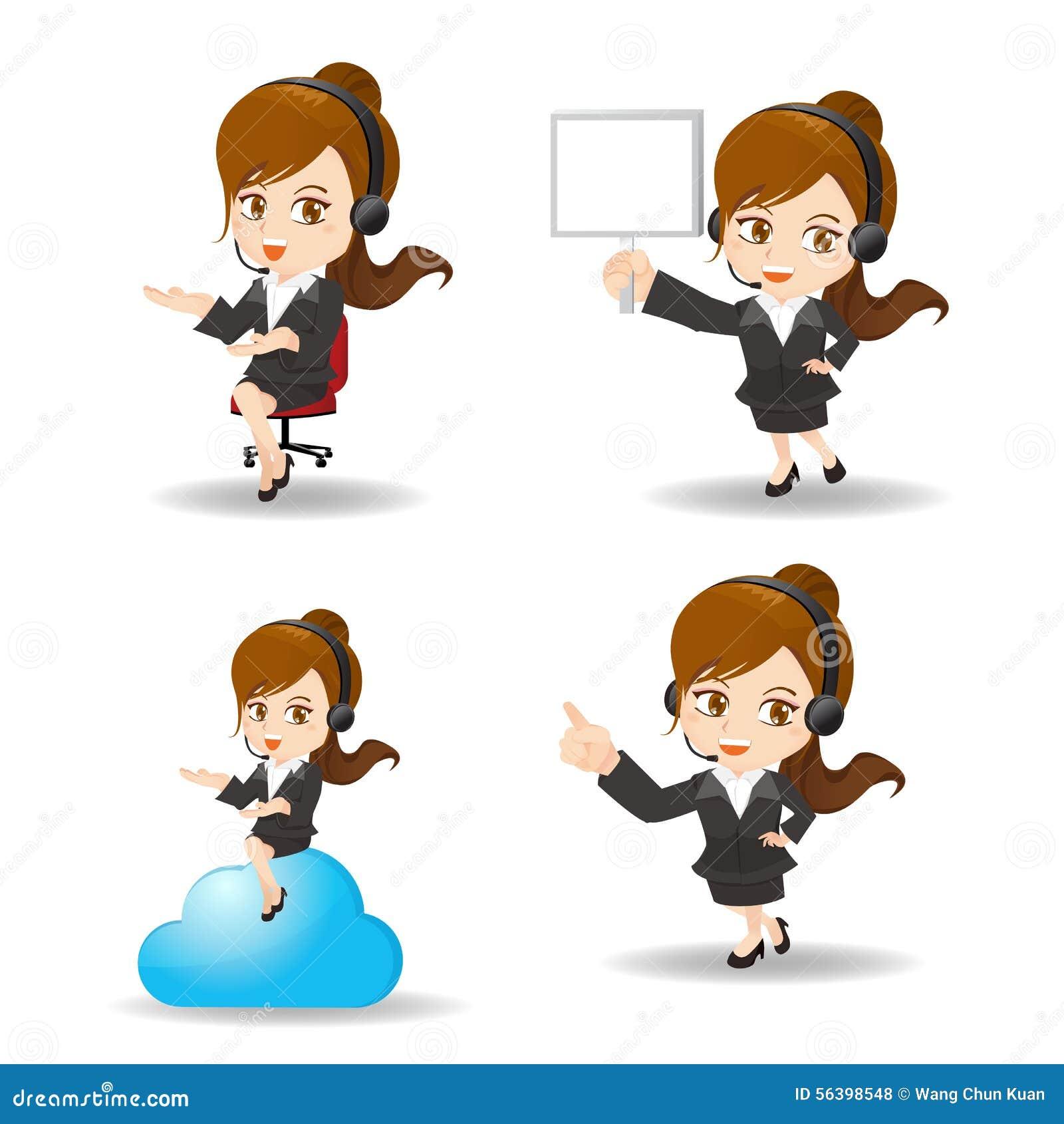 Cartoon Business Woman Customer Service Stock Vector ...