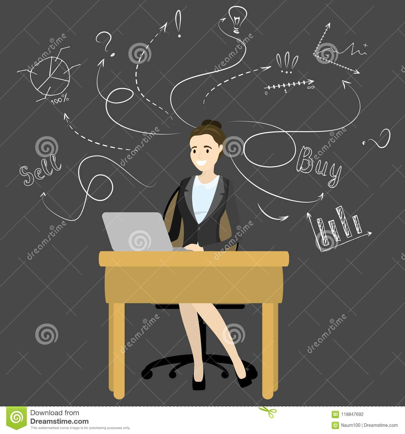 Cartoon Business Woman Or Office Manager Working On Laptop ...
