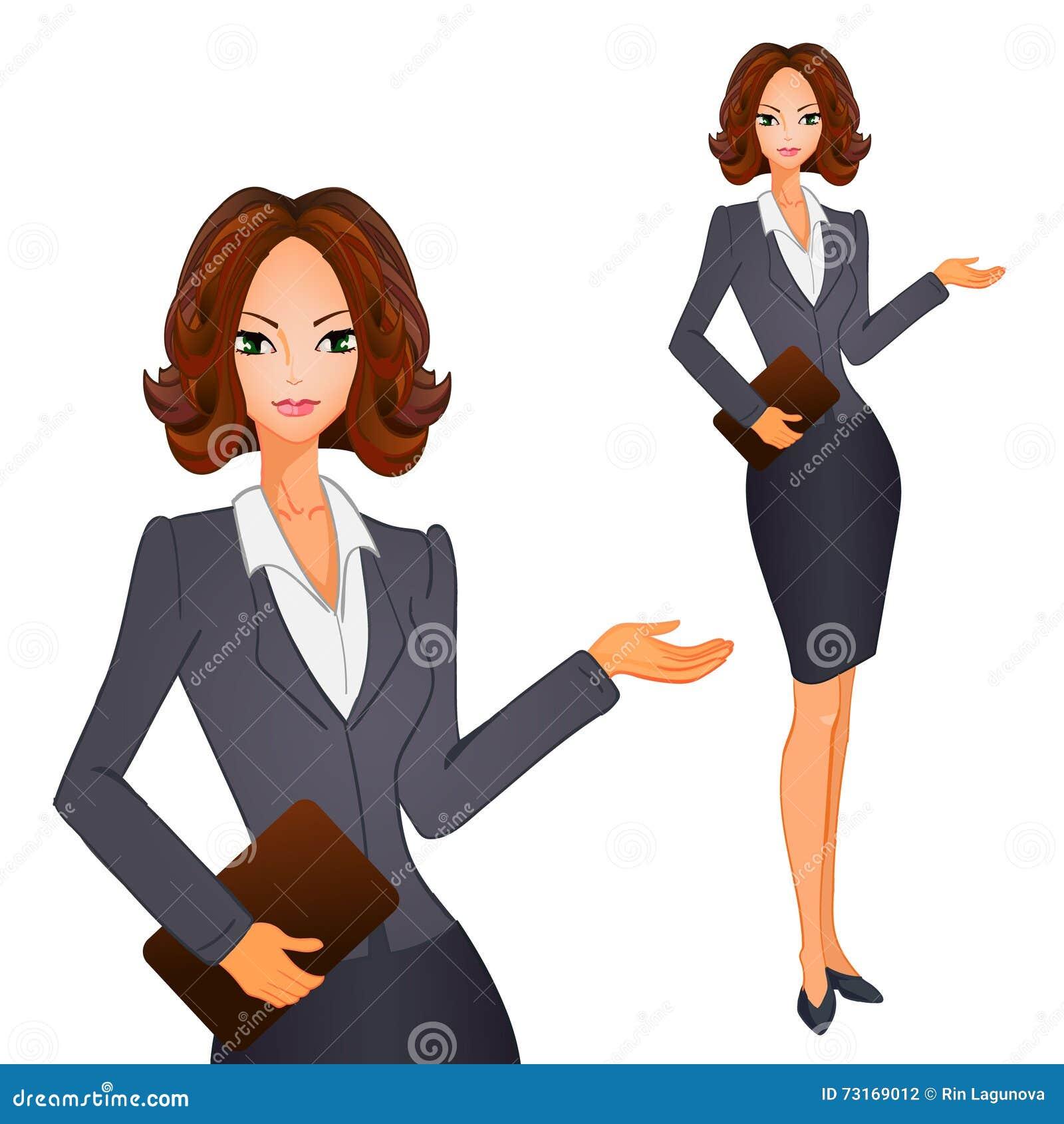cartoon business women with brown short hair on grayblue