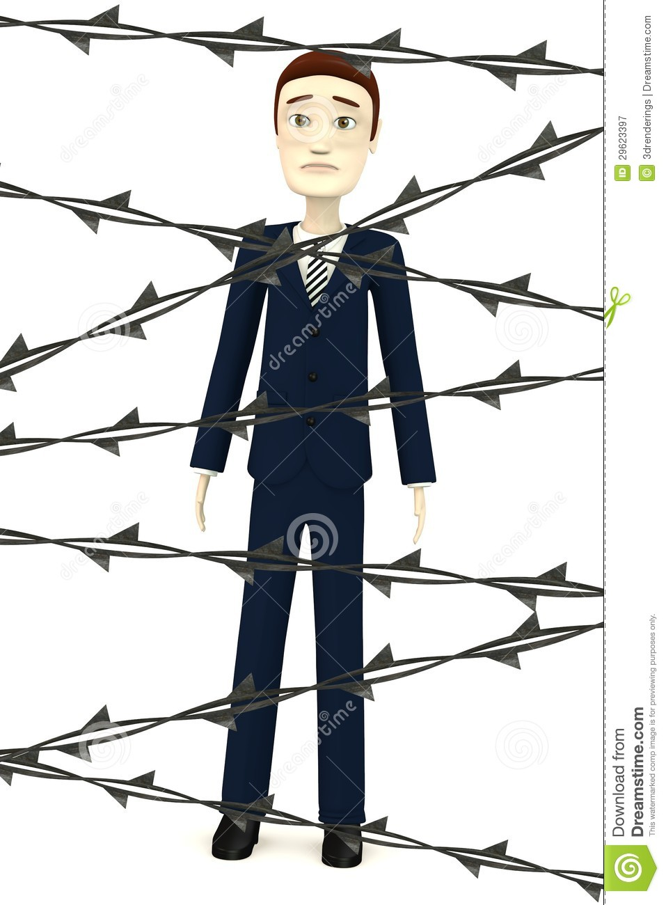 Cartoon businessman with barbed wire royalty free stock