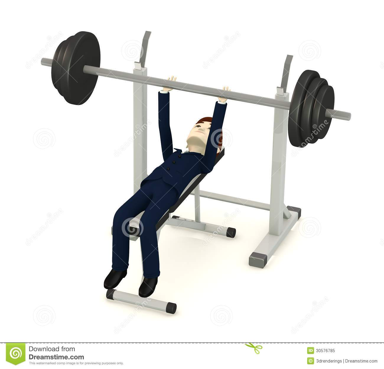 ... Businessman With Benchpress Royalty Free Stock Photo - Image: 30576785