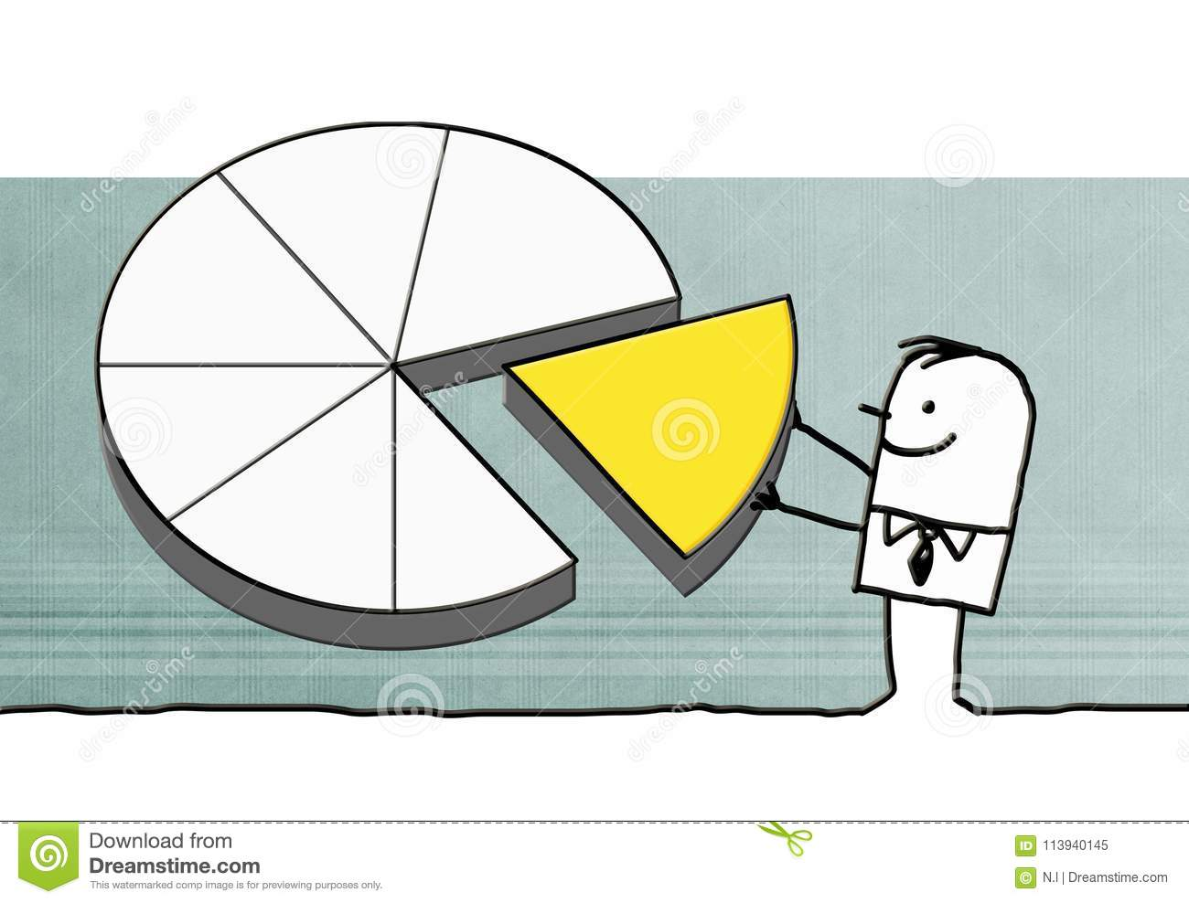 cartoon businessman with big pie chart stock illustration