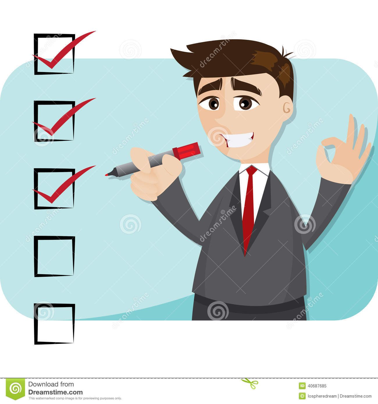 Cartoon Businessman With Checklist Stock Vector - Image: 40687685