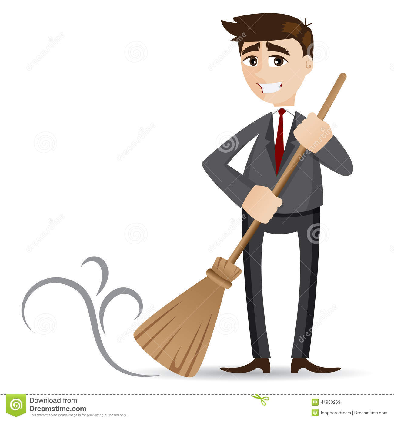 Cartoon Businessman Cleaning With Broom Stock Vector
