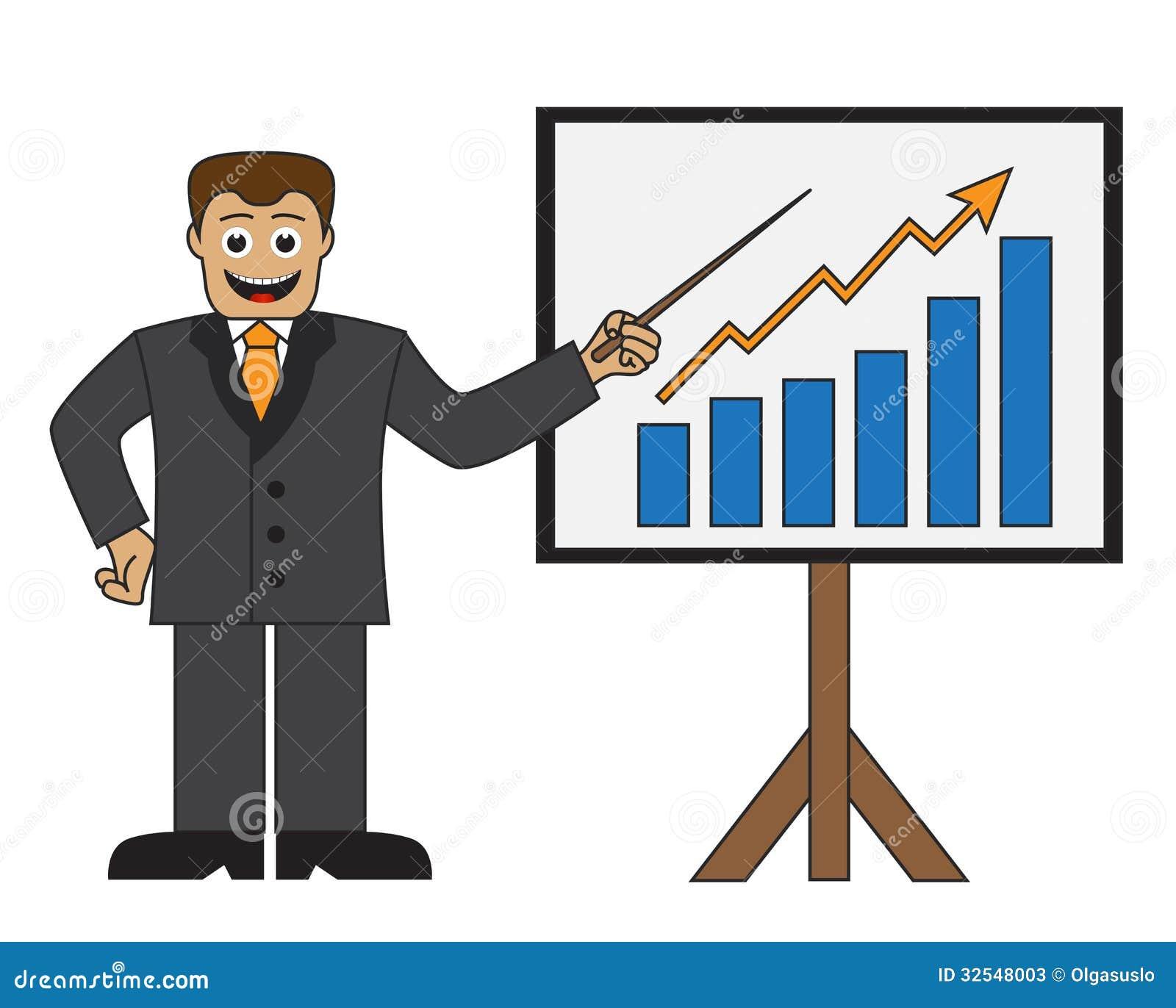 cartoon businessman doing a presentation stock illustration