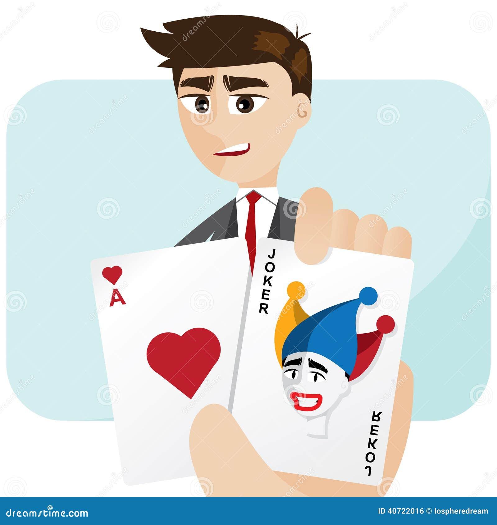 Cartoon businessman draw joker card