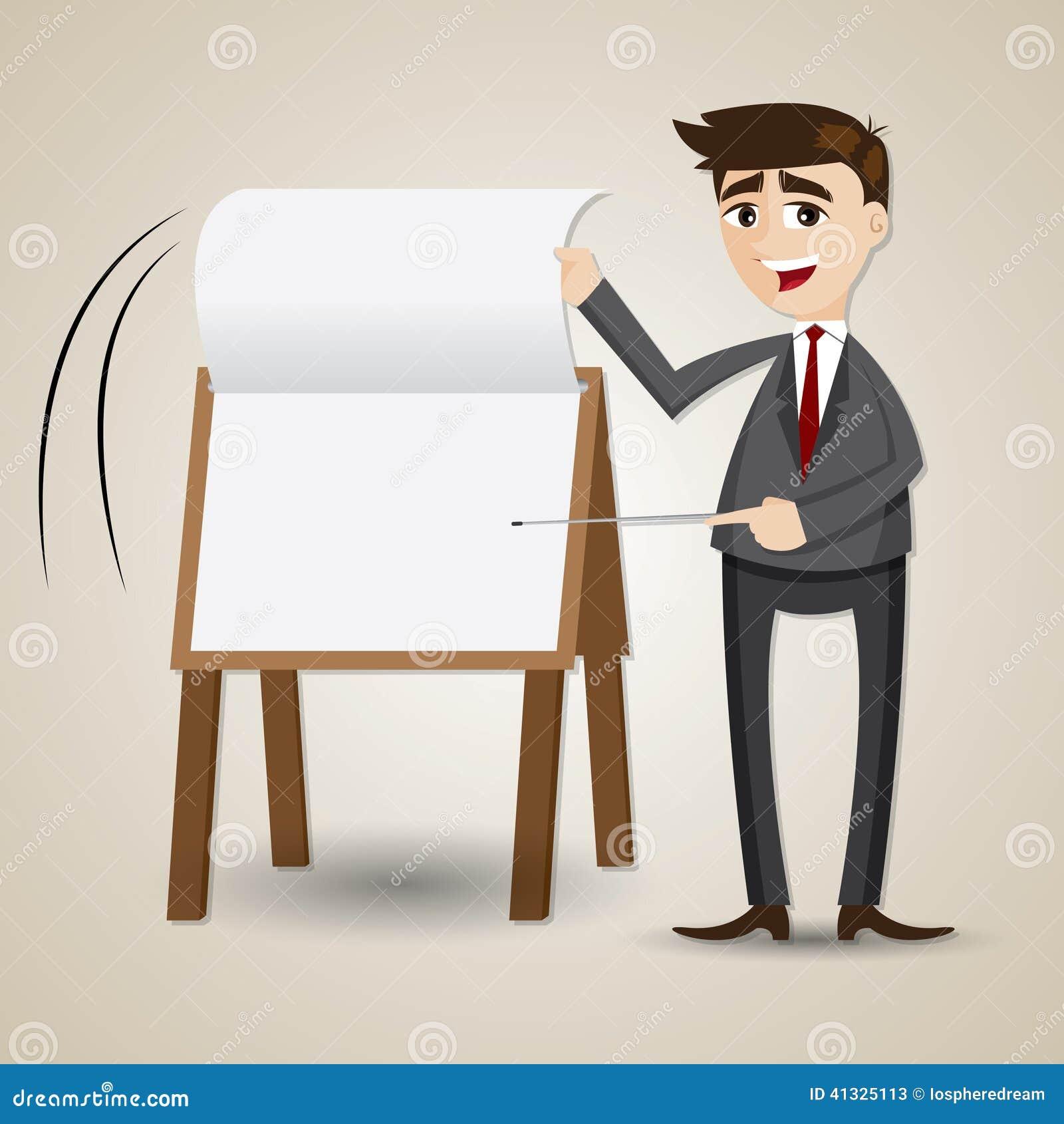 cartoon businessman flip paper on presentation board stock vector
