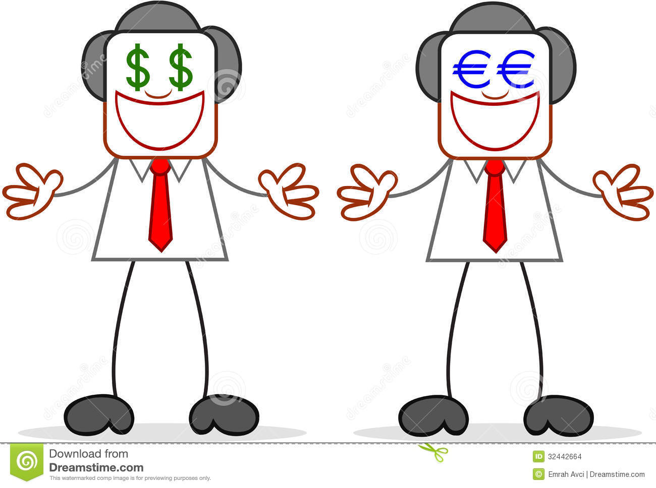 Cartoon Businessman Greedy With Money Eyes Stock Illustration