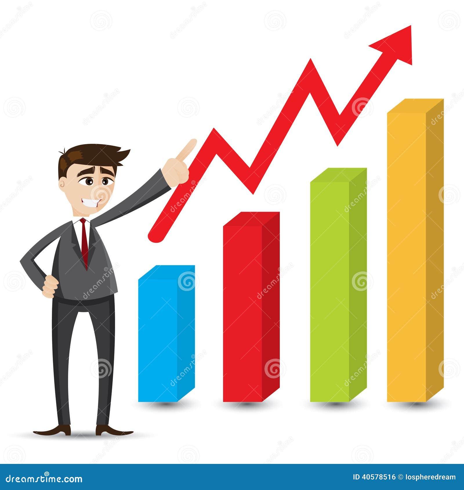 Cartoon businessman with grow up chart stock vector