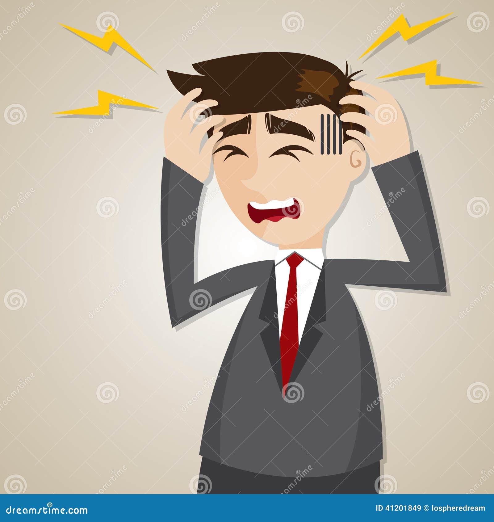 cartoon businessman headache stock vector image 41201849