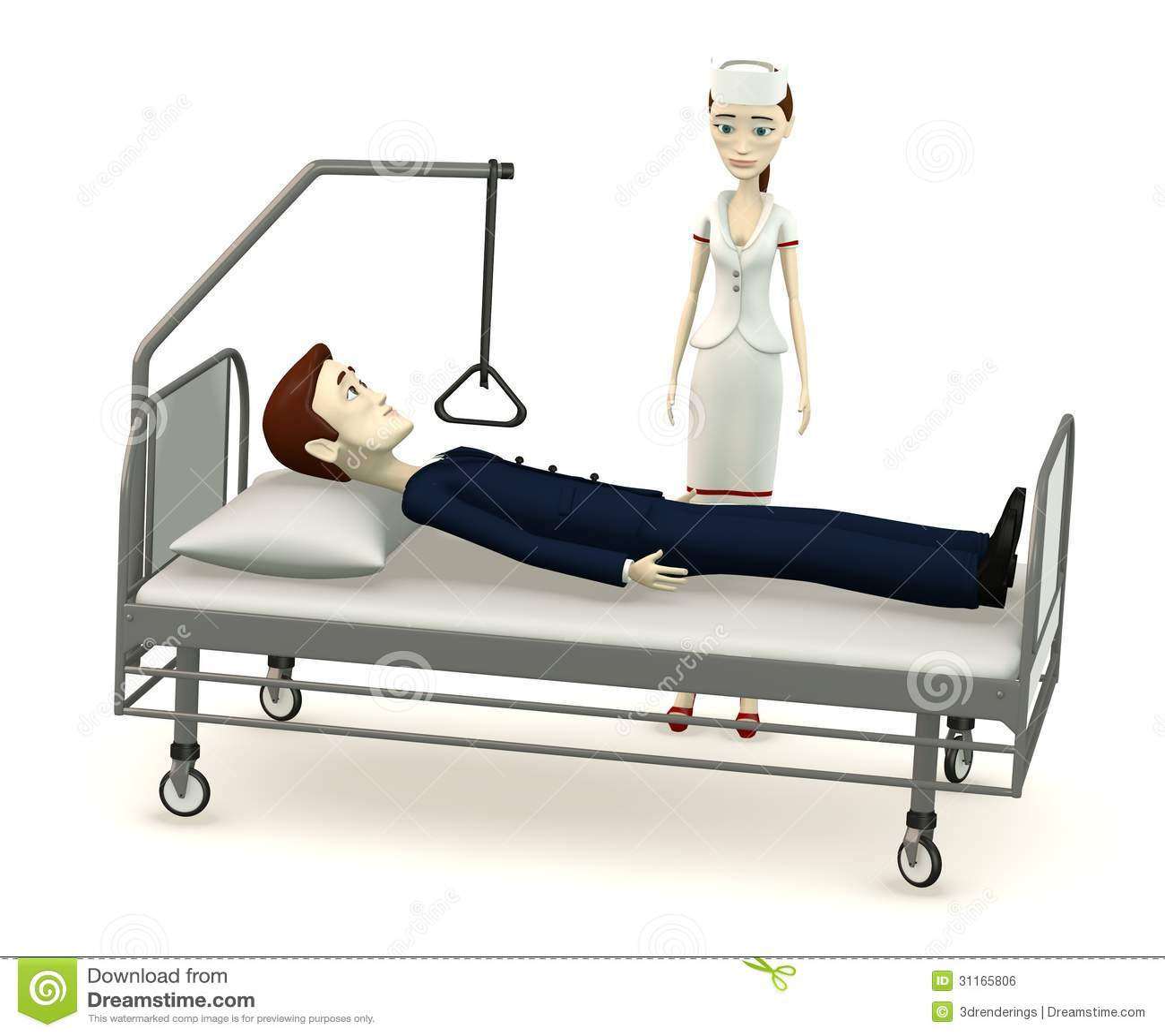 Download Cartoon Businessman On Hospital Bed Stock Illustration    Illustration Of Female, Disease: 31165806