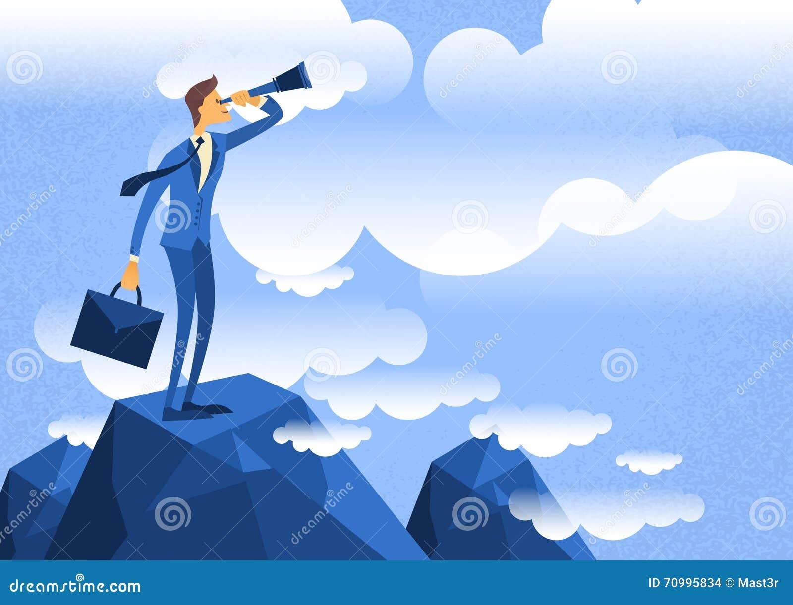 Cartoon Characters Looking Forward : Cartoon businessman looking through telescope standing on