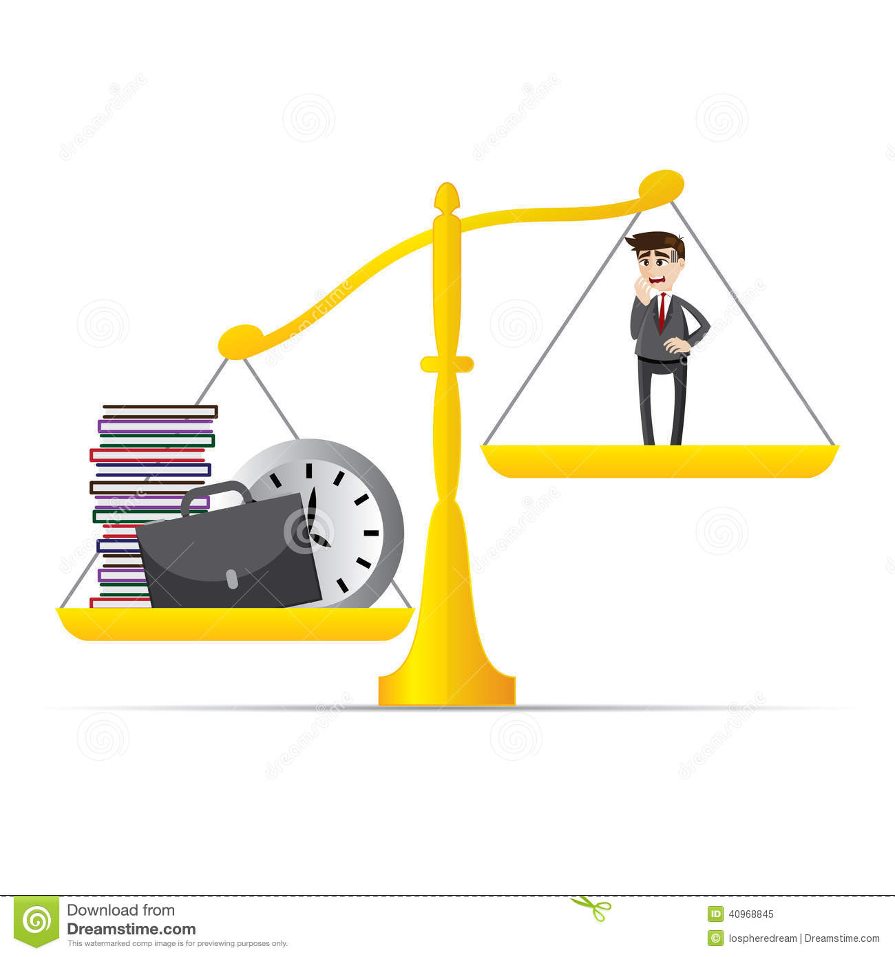 Illustration of cartoon businessman and lot of work on balance scale ...