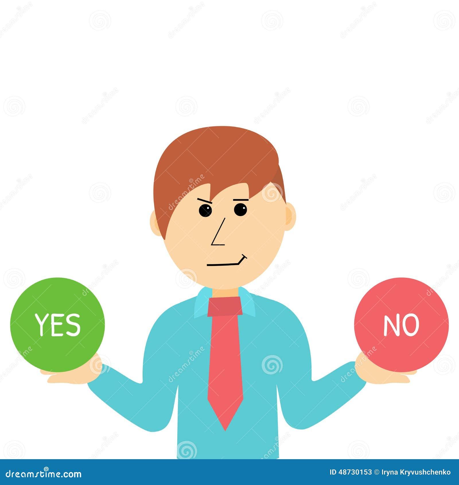 Cartoon Businessman Makes Desicion. Choose Yes Or No. Stock Vector ...