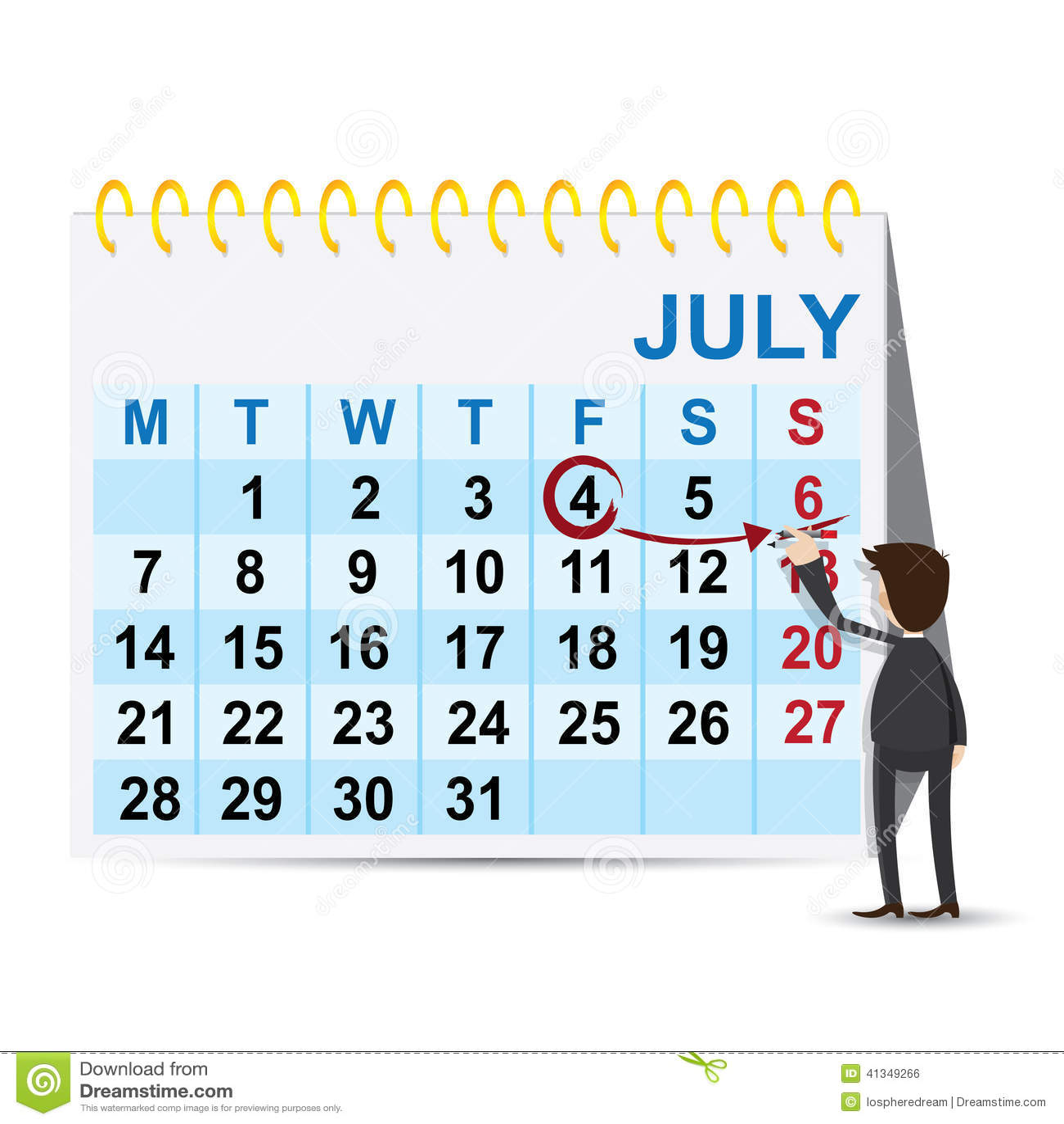 Calendar Illustration Job : Cartoon businessman marking weekend on calendar stock