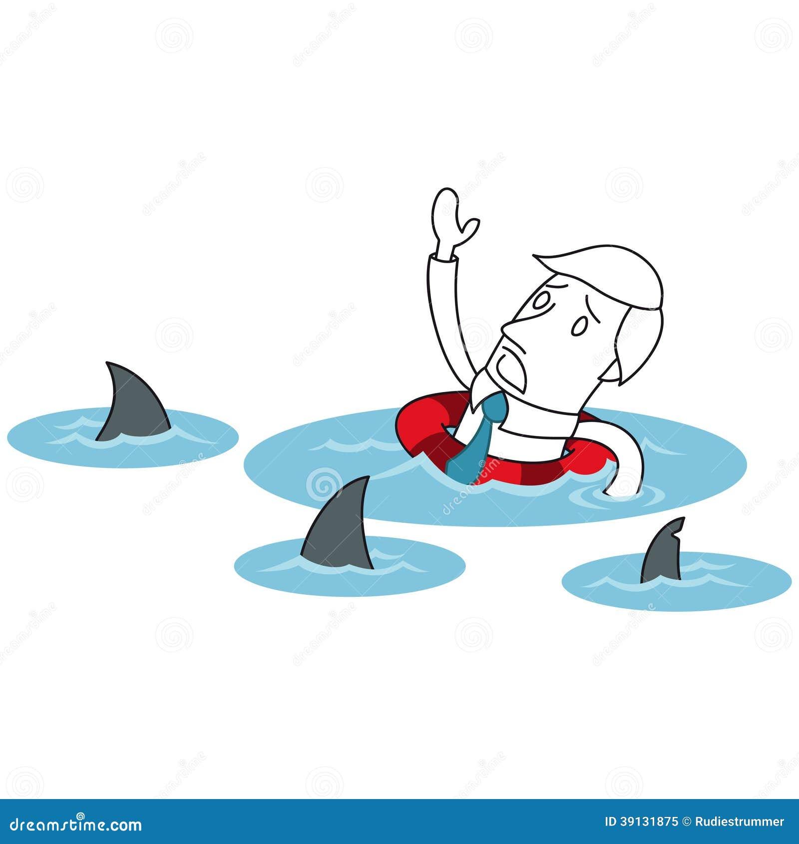 Cartoon Businessman Ocean Sharks Lifesaver Stock Vector
