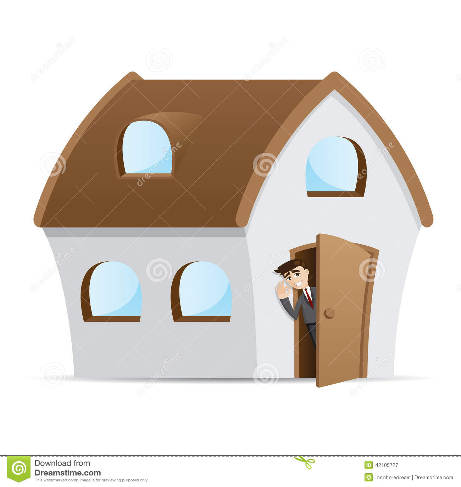 Cartoon Businessman Open House Door Stock Vector