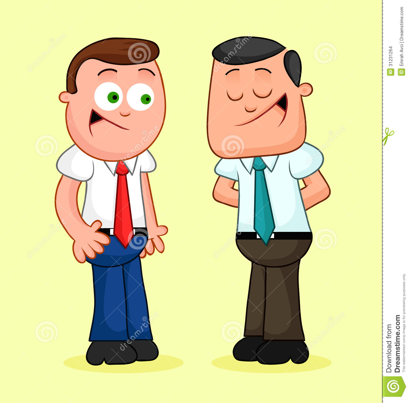 Cartoon Businessman Pair. Happy And Talking. Stock Images - Image ...