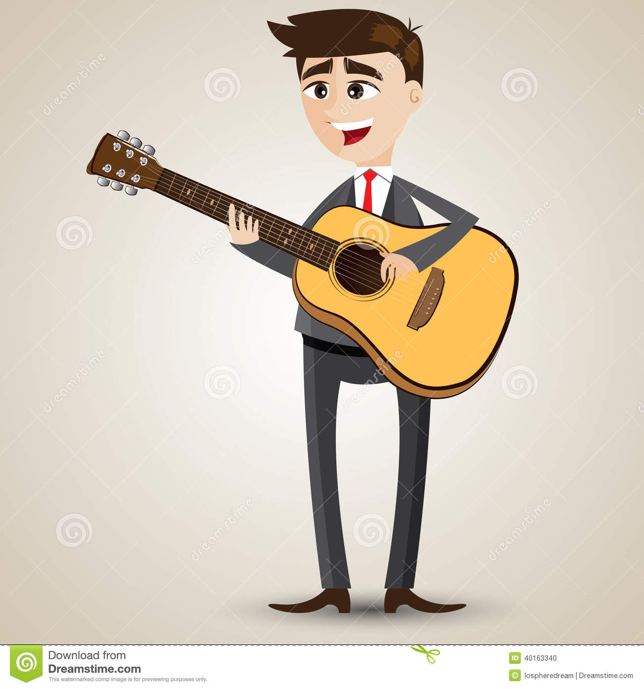 Cartoon Businessman Playing Acoustic Guitar Stock Vector - Image ...