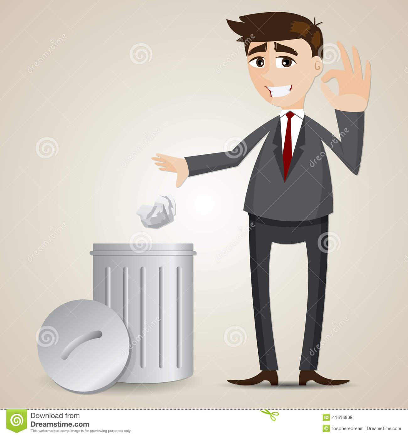 Cartoon Businessman Put Paper In Recycle Bin Stock Vector - Image ...