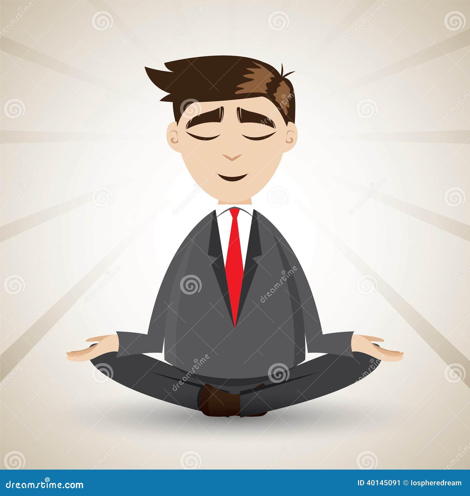 Cartoon businessman relaxing with meditation