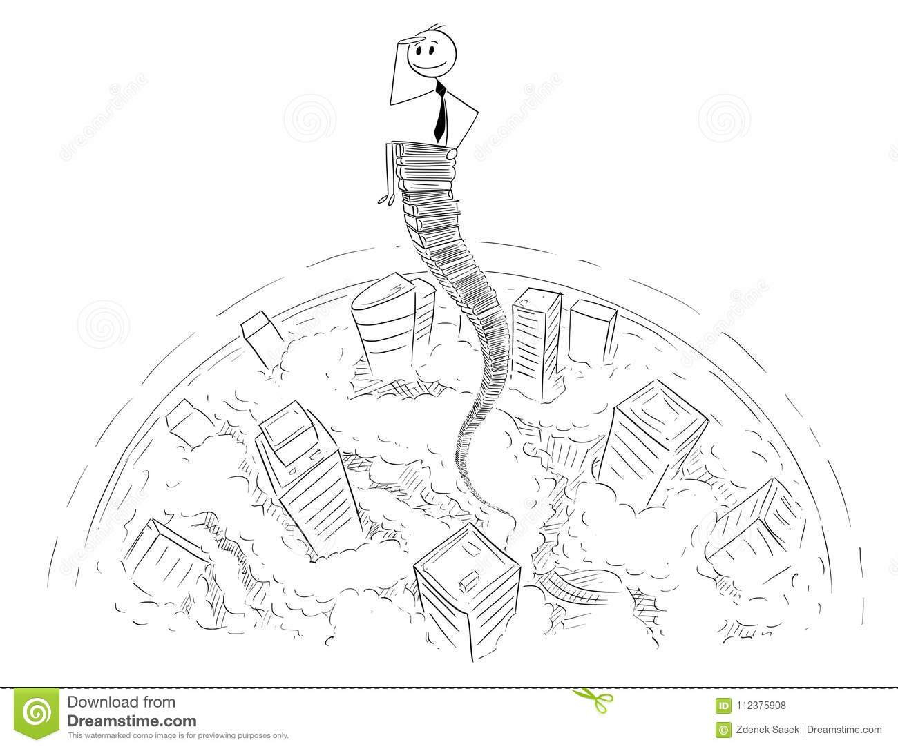 cartoon of businessman sitting on sky high stack of office folders