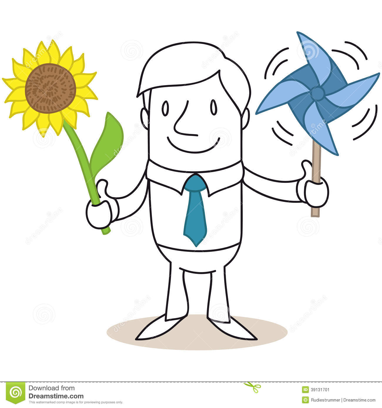 Cartoon Businessman Solar Wind Energy Sunflower Stock Vector - Image ...