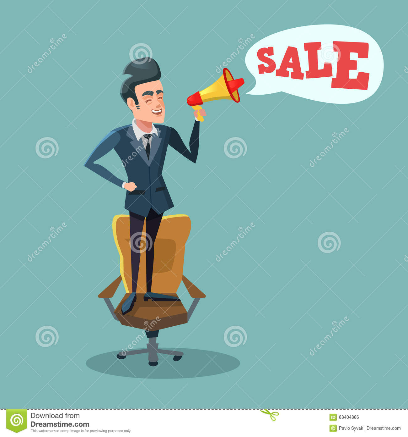 Cartoon Businessman Standing On Office Chair With Megaphone And