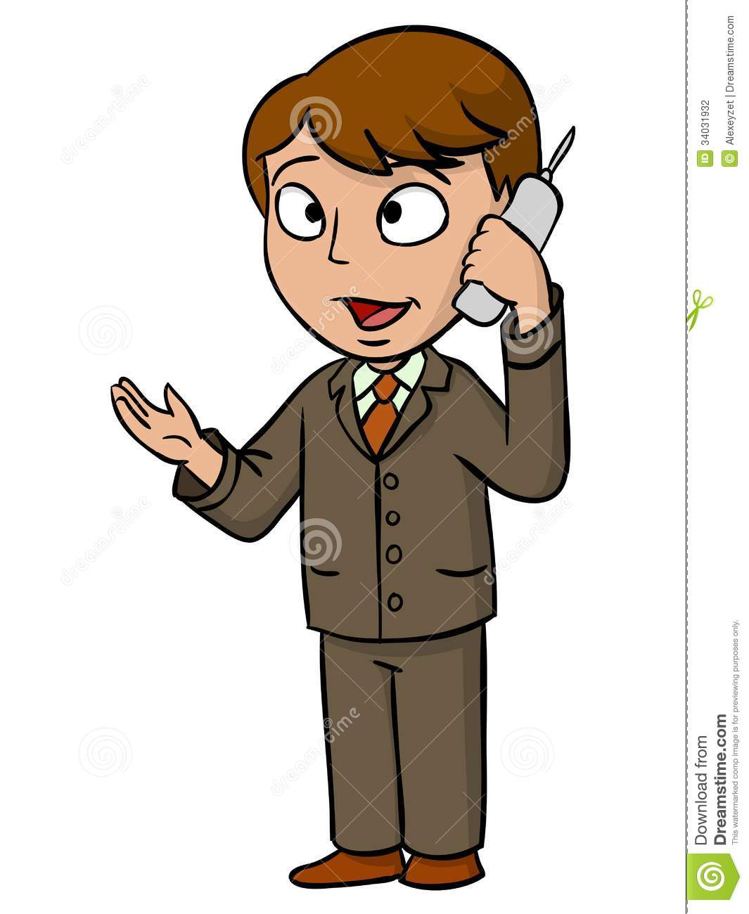 cartoon businessman talking with cell phone stock vector
