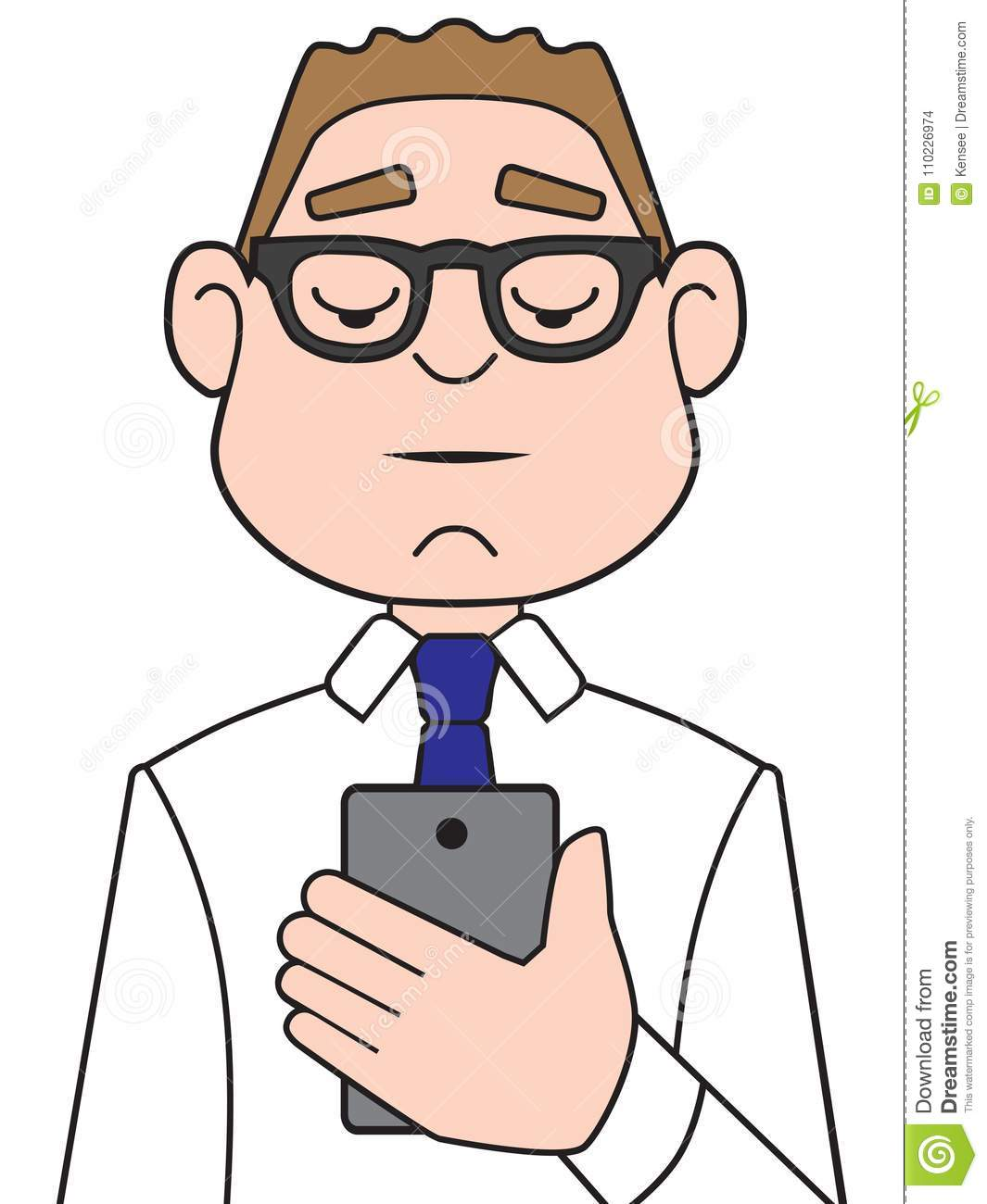 Cartoon Businessman Using Cell Phone