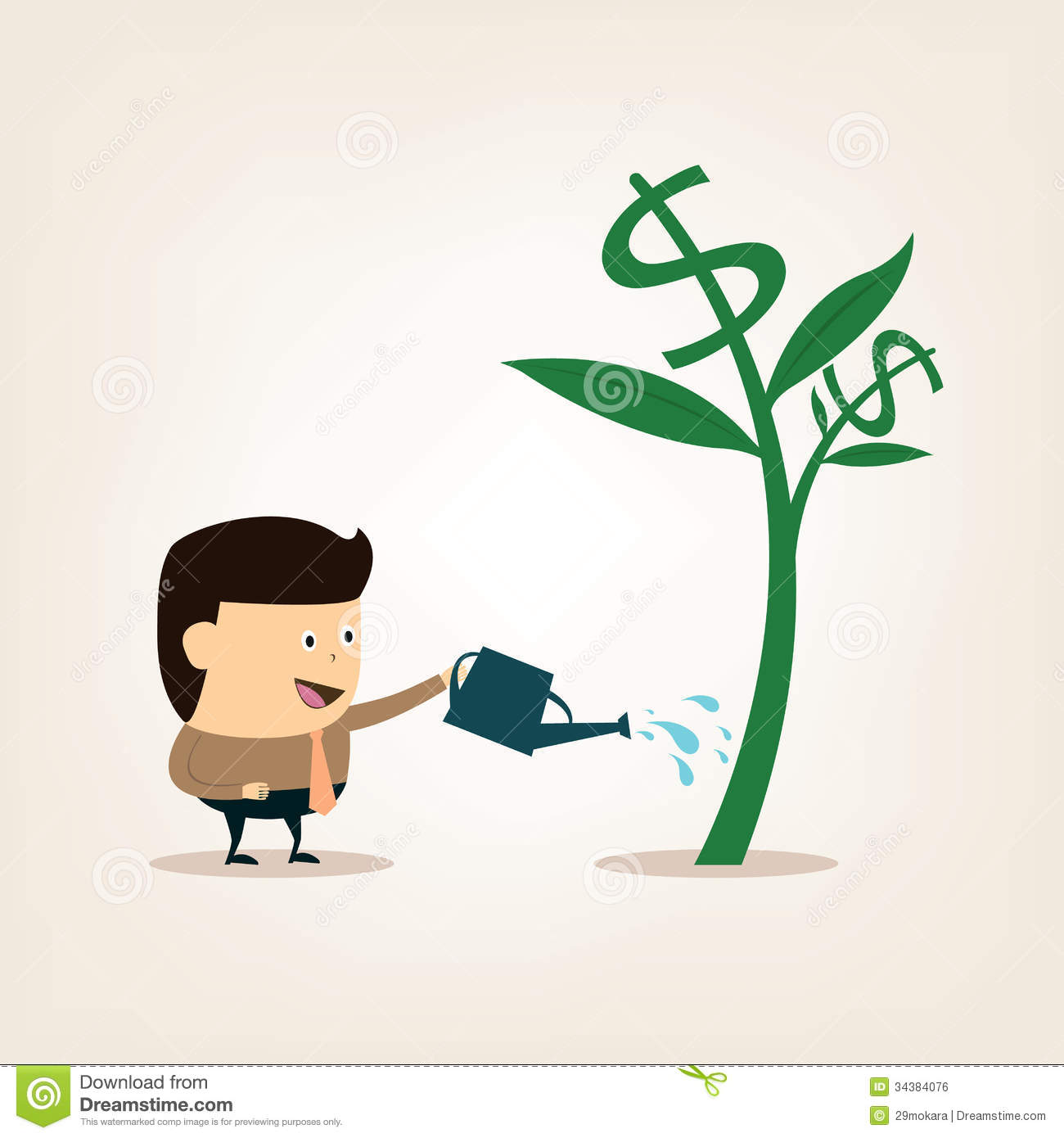 Finance Tree: Cartoon Businessman During Watering The Money Tree Stock