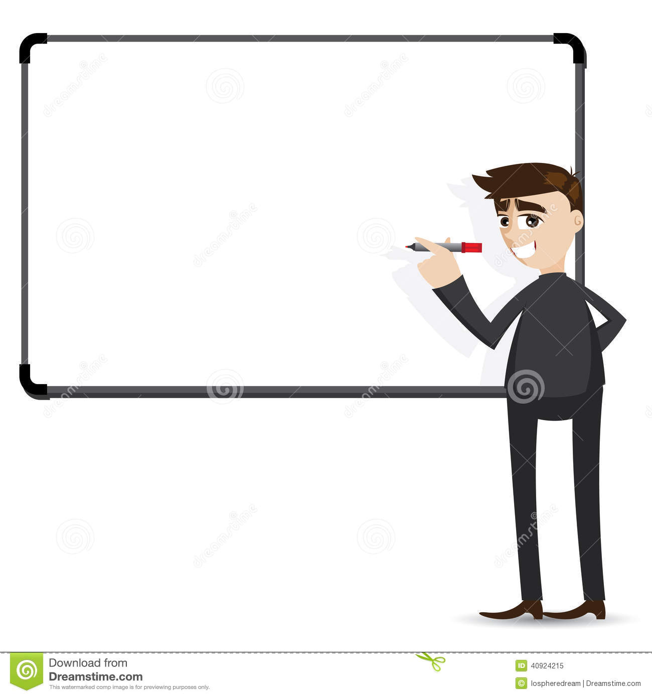 Cartoon Businessman Writing Whiteboard Stock Vector
