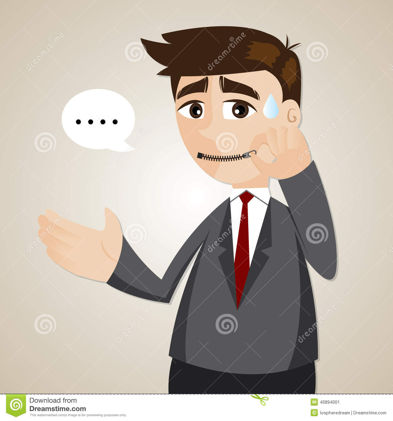 Cartoon Businessman Zipped His Mouth Stock Vector Image