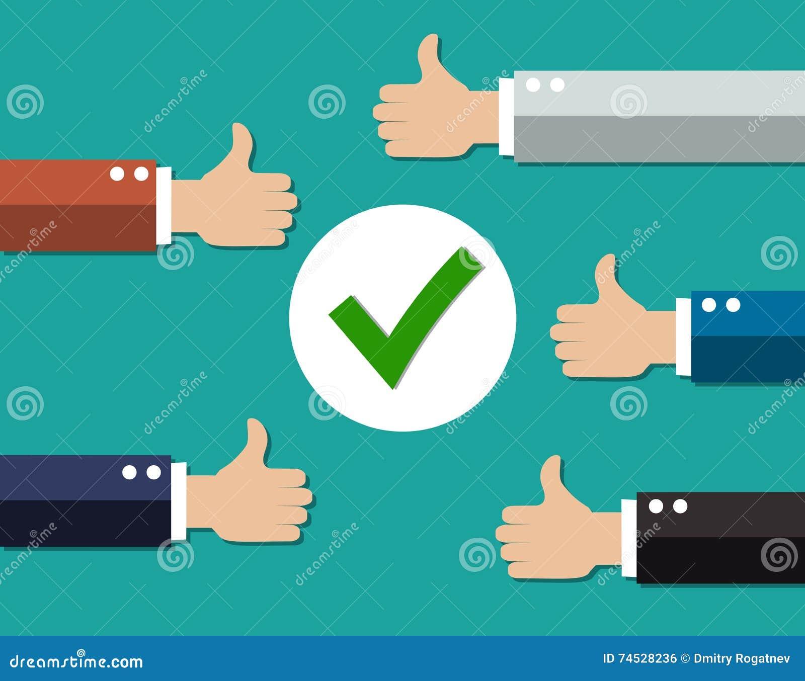 Cartoon Businessmans hands hold thumbs up.