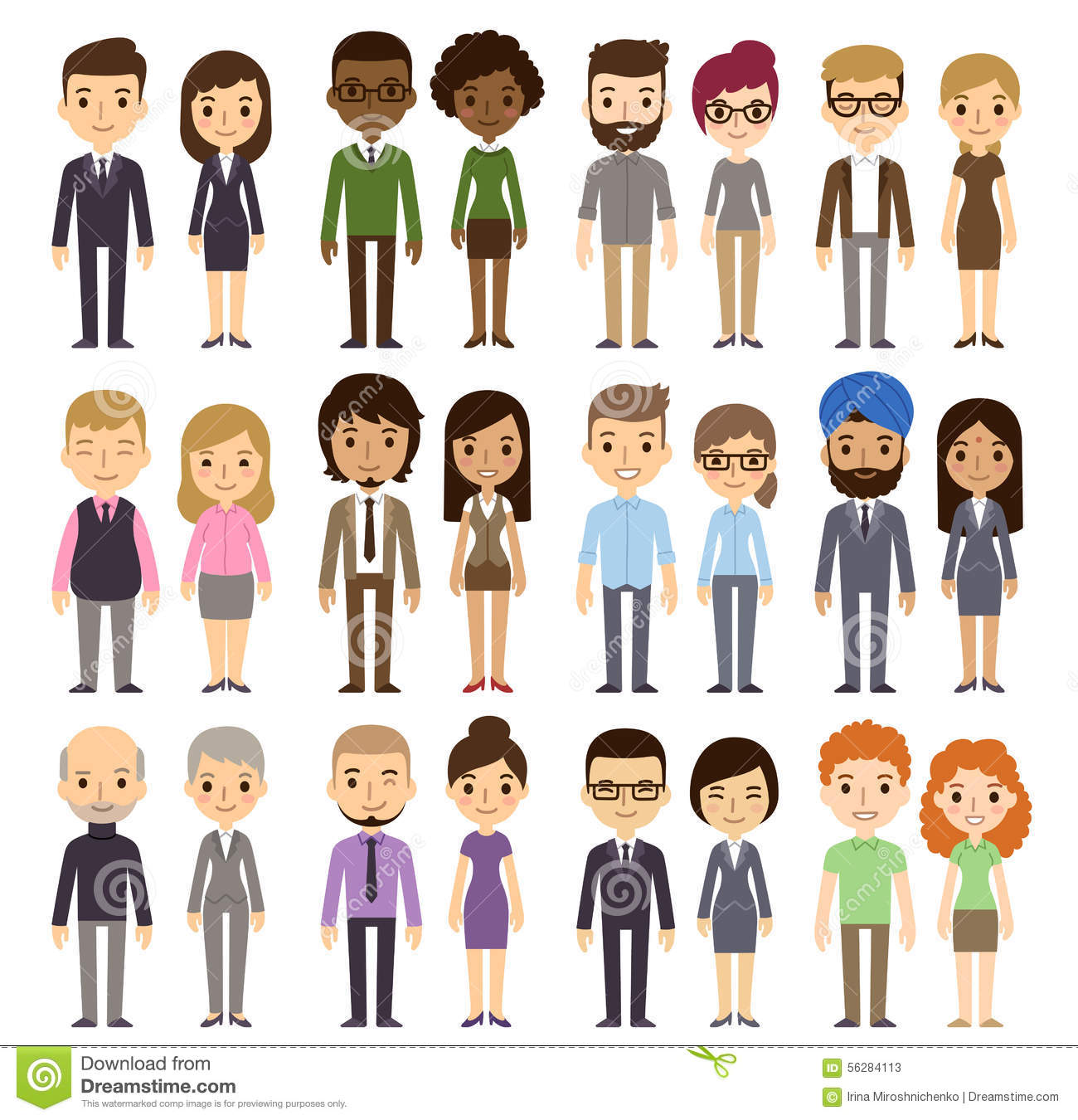 Set of diverse business people on white background. Different ...
