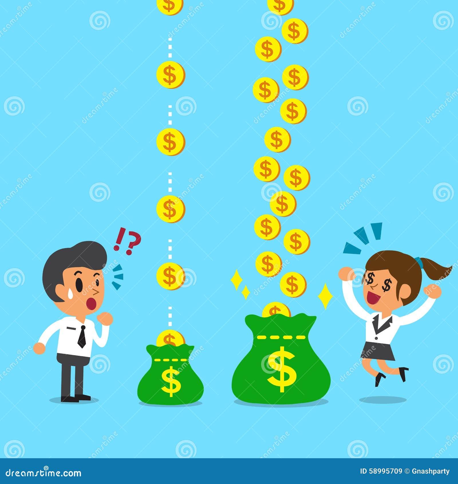 Cartoon Businesswoman Earns More Money Than Businessman ... |More Money Cartoon