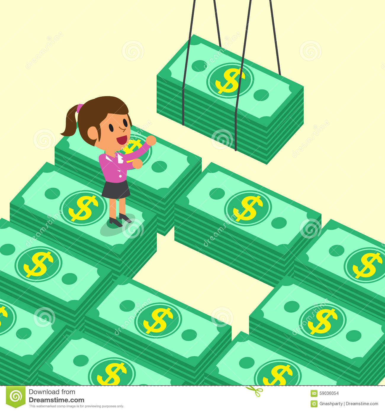Cartoon businesswoman receiving money stacks