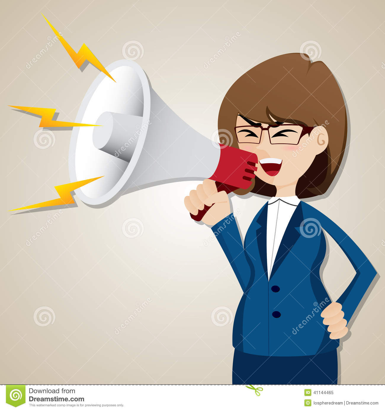 ... Businesswoman Shout Out With Megaphone Stock Vector - Image: 41144465