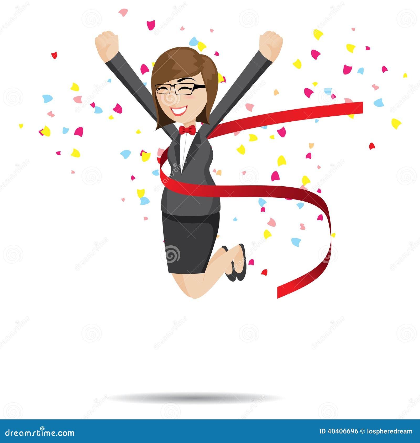 Cartoon Businesswoman In Success Action Stock Vector - Image: 40406696