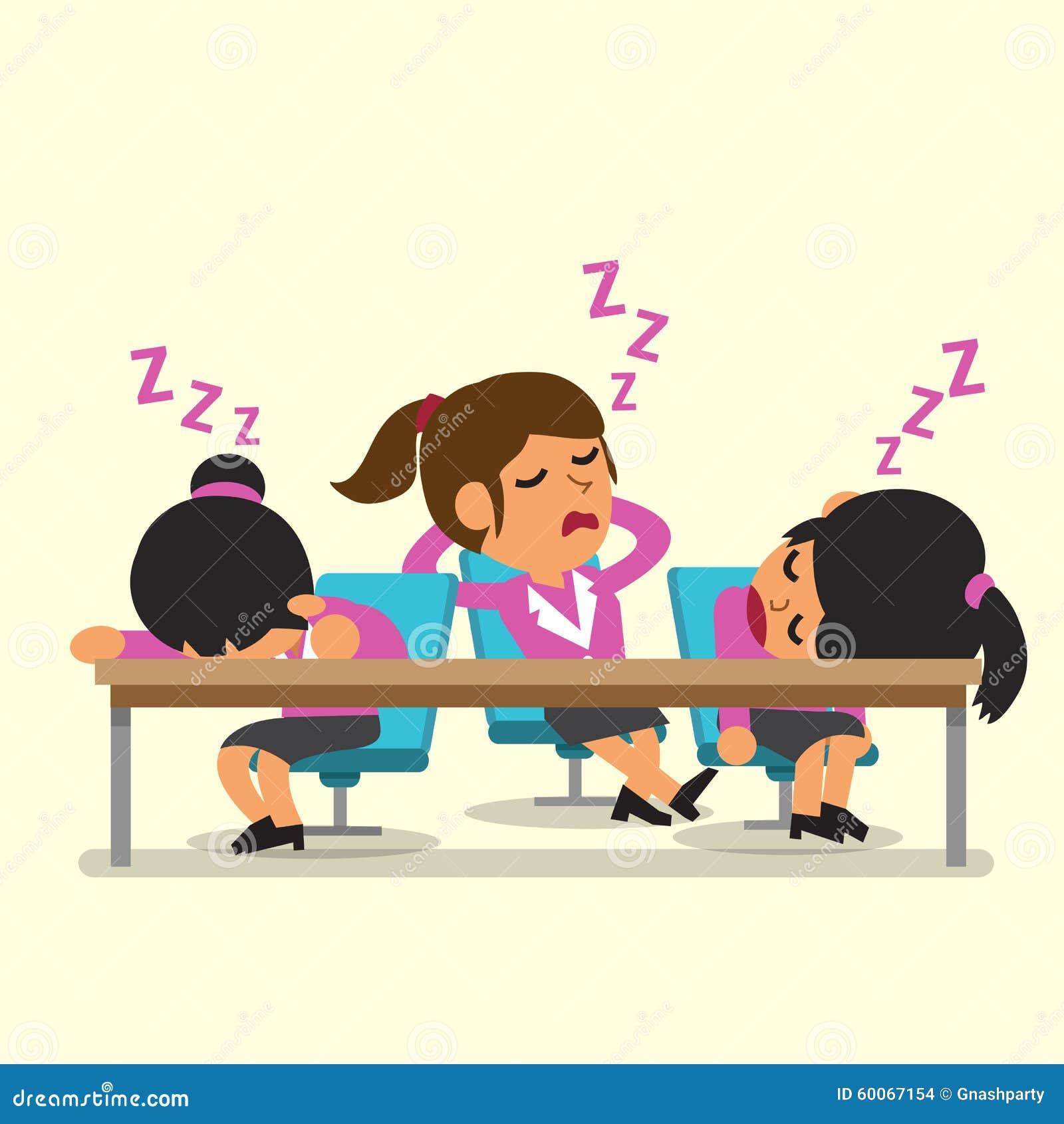 Cartoon Businesswoman Team Falling Asleep Stock Vector ...