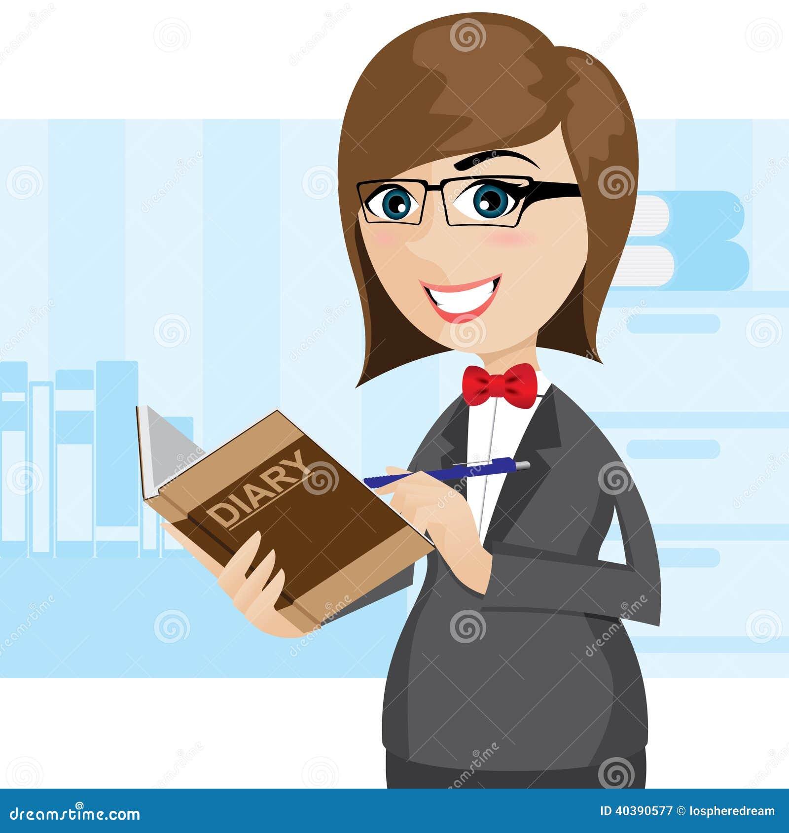 Cartoon Diary: Cartoon Businesswoman Writing Diary Stock Vector
