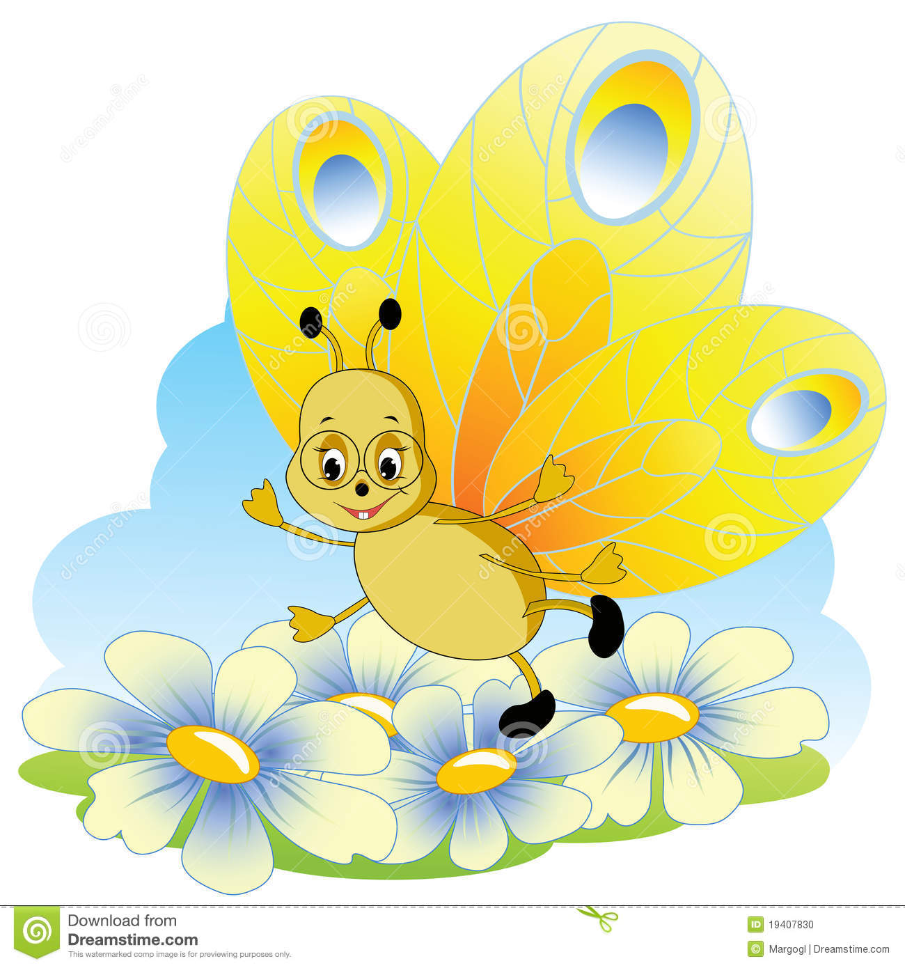 Pics For > Cartoon Yellow Butterfly