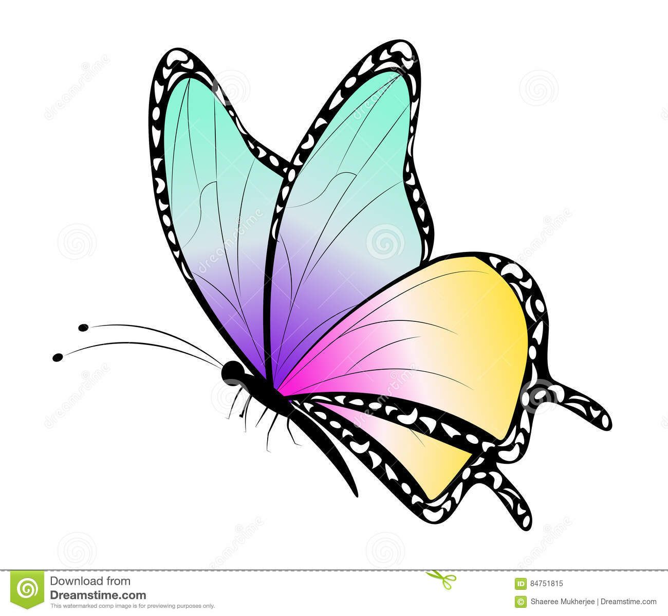 Cute Flying Butterfly Cartoon