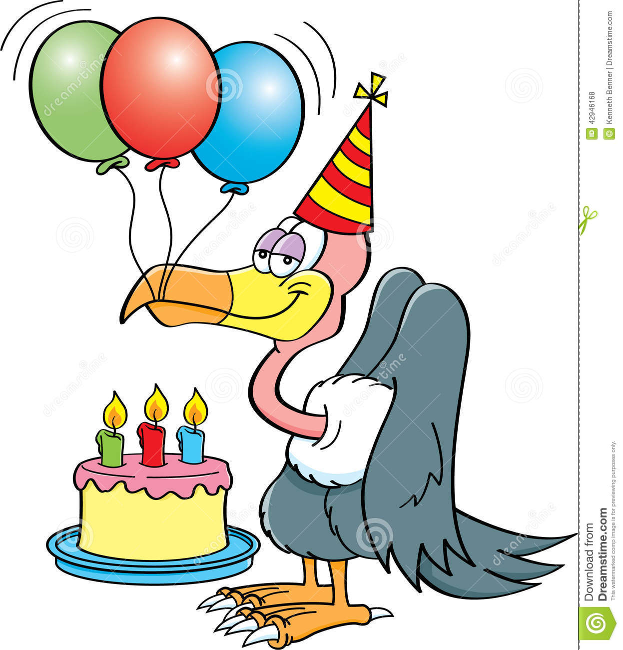 Cartoon illustration of a buzzard wearing a party hat with a birthday ...