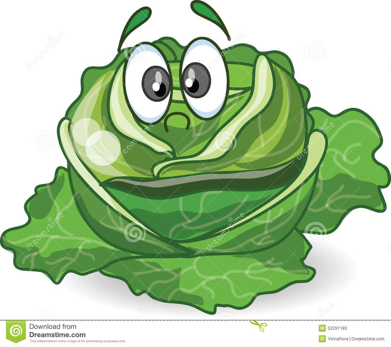 Cartoon Cabbage With Cute Face,vector Stock Vector - Image ...