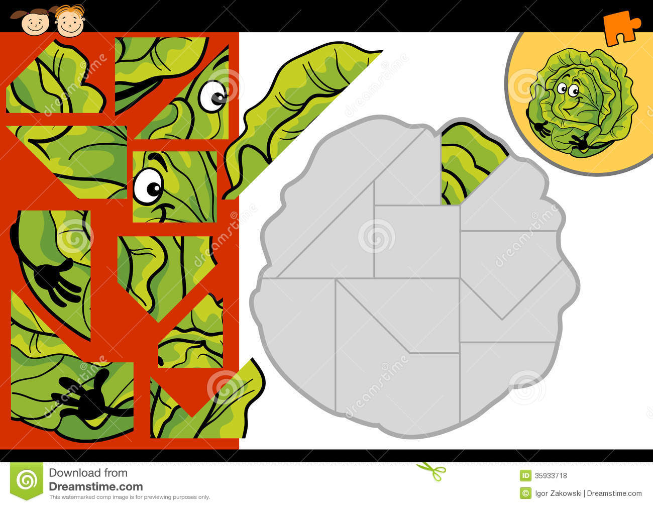cartoon cabbage jigsaw puzzle game royalty free stock photos